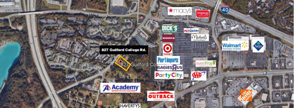827 Guilford College Road aerial with businesses